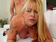 Young dude with strong cock fucks naughty MILF with hairy cunt while her husband is not at home 8