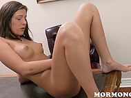 Young cutie slowly undresses, lays on the table and Masturbates in front of a man