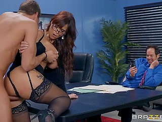 Office work has to apologize to busty boss Syren Demer and fucking is the best way to do it