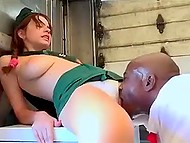 Adorable young redhead with saggy tits impaled in ice truck by excited black bruiser 4