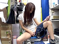 Oriental babe has come to store room with only one aim to have self-satisfaction act with small vibrator 4