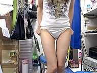 Oriental babe has come to store room with only one aim to have self-satisfaction act with small vibrator 9