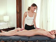 Caring masseuse satisfies her lonely girlfriend with pussy massage and gentle caresses 5