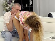 Gallant man was seducing his son's girlfriend and finally she gave him a gentle blowjob 5