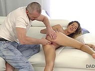 Gallant man was seducing his son's girlfriend and finally she gave him a gentle blowjob 9