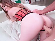 Female in a red corset is so steamy that man is thrusting dick into her mouth and even cherry 9