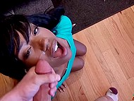 Dark-skinned whore moans loudly feeling a white boner in vagina and enjoys warm sperm on her face 11