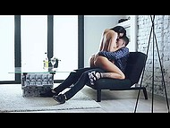 Romantic young couple Vanessa Decker and Michael Fly had beautiful sex on the couch 6