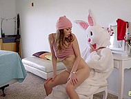 Cunning dude in Easter bunny outfit fucks sexy stepsister and her best friend
