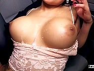 For cash brunette with round boobs Barbara Bieber is nicely blacked in spacious van 11