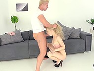 Cheeky guy roughly nails innocent Euro blonde Kira Thorn in warm mouth and tight ass
