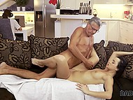 Experienced mature male confidently fucks young black-haired slut and cums in her mouth 11