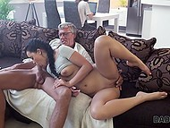 Experienced mature male confidently fucks young black-haired slut and cums in her mouth 3