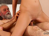 Mature man with gray beard caresses and fucks young blonde-haired housekeeper 4