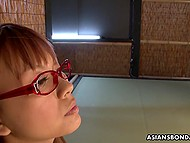 Two perverts kidnapped young Japanese woman with red glasses and forced to suck cocks 4