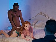 Horny red-haired MILF has violent sex with black man in front of her husband