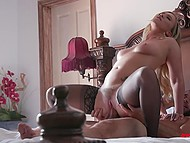 Romantic lovemaking of attractive blonde in stockings and her husband with cumshot on her face 10