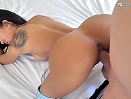 Experienced male intensively drills shaved pussy of busty Latina in blue boots 11
