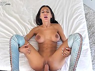 Experienced male intensively drills shaved pussy of busty Latina in blue boots 7