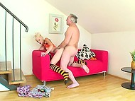 Blonde in striped black and yellow high socks has sex with...