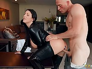 Busty brunette in leather suit eagerly sucks bound man's cock and gets assfucked by him  4