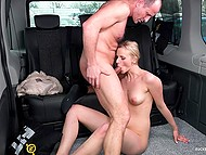 Middle-aged man parked car in the public place and risky fucked beautiful woman in the back seat 11