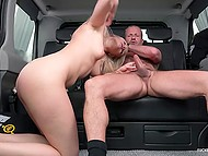 Middle-aged man parked car in the public place and risky fucked beautiful woman in the back seat 9