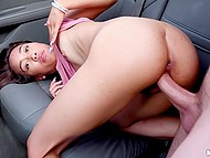 Asian wench with pierced nipple thanks driver for a ride...