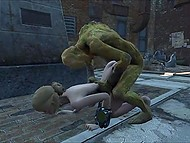 Hideous zombies forcing the poor girl to have sex on the deserted cemetery