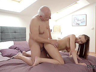 Young lady allowed old man to caress her pussy and in gratitude gave him a juicy blowjob and pussy