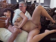 Mutual Masturbation young brunette and old boss turned into a Blowjob and sex