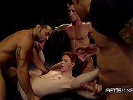 Three Latin guys fuck pale girl's holes making her understand that she shouldn't have offense one of them