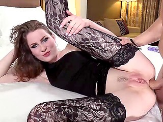 Uninhibited beauty in black lace stockings allowed agent to fuck her pussy and tight ass at the casting