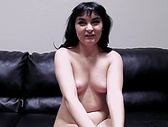 Cute brunette talks about her feelings while agent fucks her in tight ass then he cums on her face 8