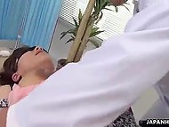 When Japanese girl comes to doctor, man blindfolds her and masturbates pussy before she sucks cocks 10
