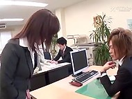Female employee joins a Japanese office and raunchy co-workers make her spread legs quickly 4
