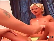 Two innocent French lesbians undress one another and play with favorite sex toy 4