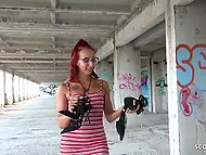 Nerdy German girl with red hair turns out to be lover of anal penetration that she practices in abandoned building 4