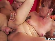 Red-haired granny lures young neighbor into awesome sex that ends with cum in her mouth 10