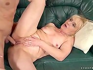 Young fellow with hard dick is perfect remedy for blonde granny who was tired after work on laptop 8