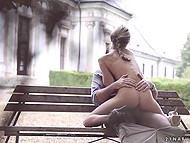 Romantic beauty Gina Gerson having sex on the bench in colorful autumn park