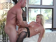 Cheating fair-haired wife in stockings gets fucked by a strong athletic dude while nobody is home