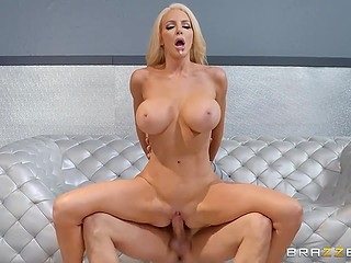 Handsome doctor with huge cock dragged into spontaneous sex with chesty blonde MILF