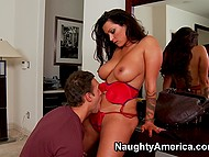 Busty stunner Nikita Denise with tanned body gives guy blowjob thanking him for gift 4