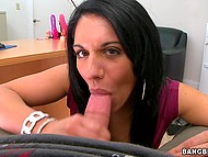 Dark-haired cutie Bella Reese sits on a cock pussy after demonstrating oral skills