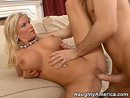 Experienced blonde whore with huge boobs makes happy guy using her awesome body