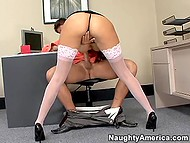 Strict boss saw black-haired secretary scan her boobs and decided to punish her