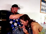Before the blowjob bearded man could not resist and pounced...