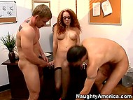 After listening to problems of two students curly directress decided to deal with their dicks 9