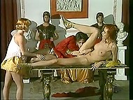 The Roman Emperor was upset about the defeat, but two concubines brightened the tragedy of anal fucking